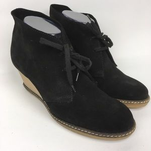 J.Crew Black Suede Lace Up Booties
